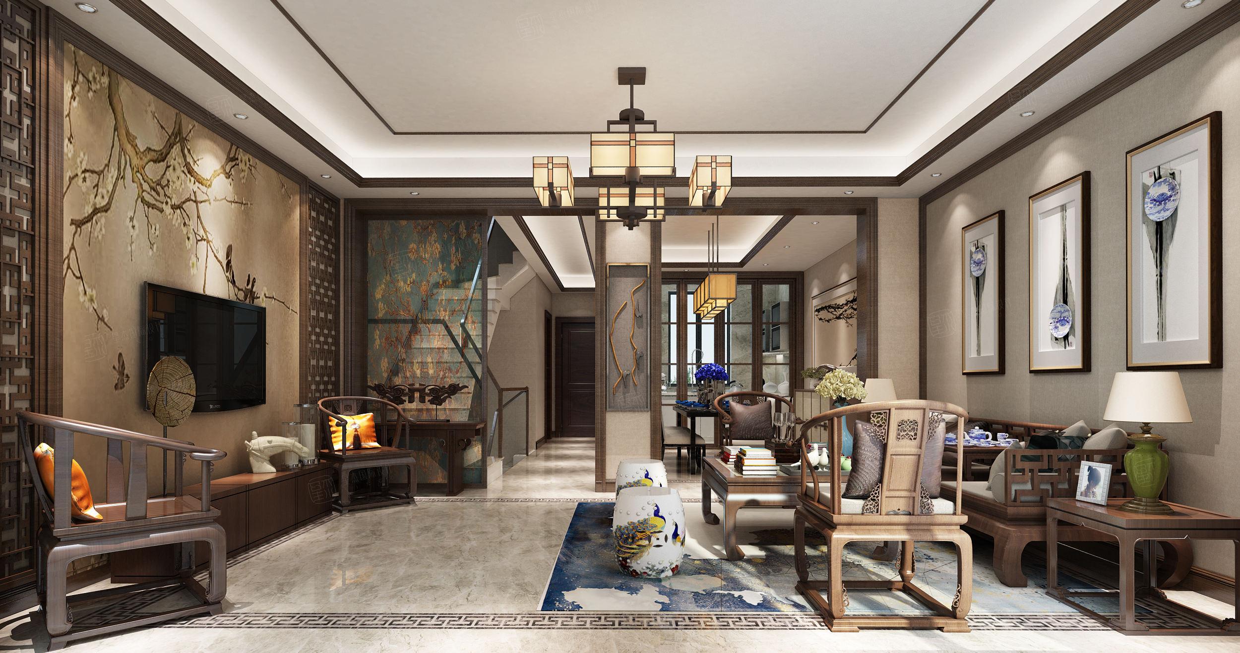 朱家角一号 新中式装修客厅效果图