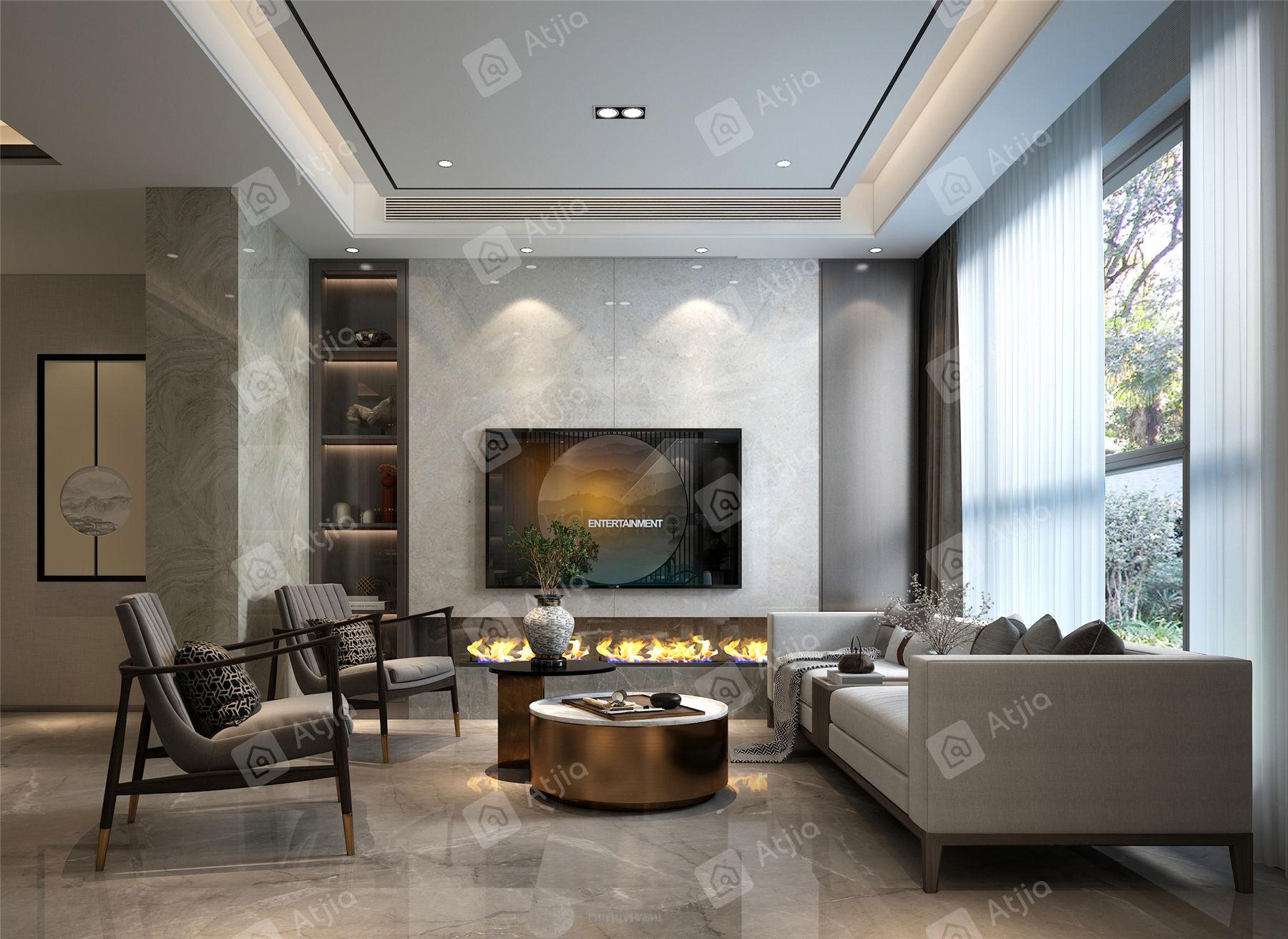 万濠瑜园 新中式装修客厅效果图