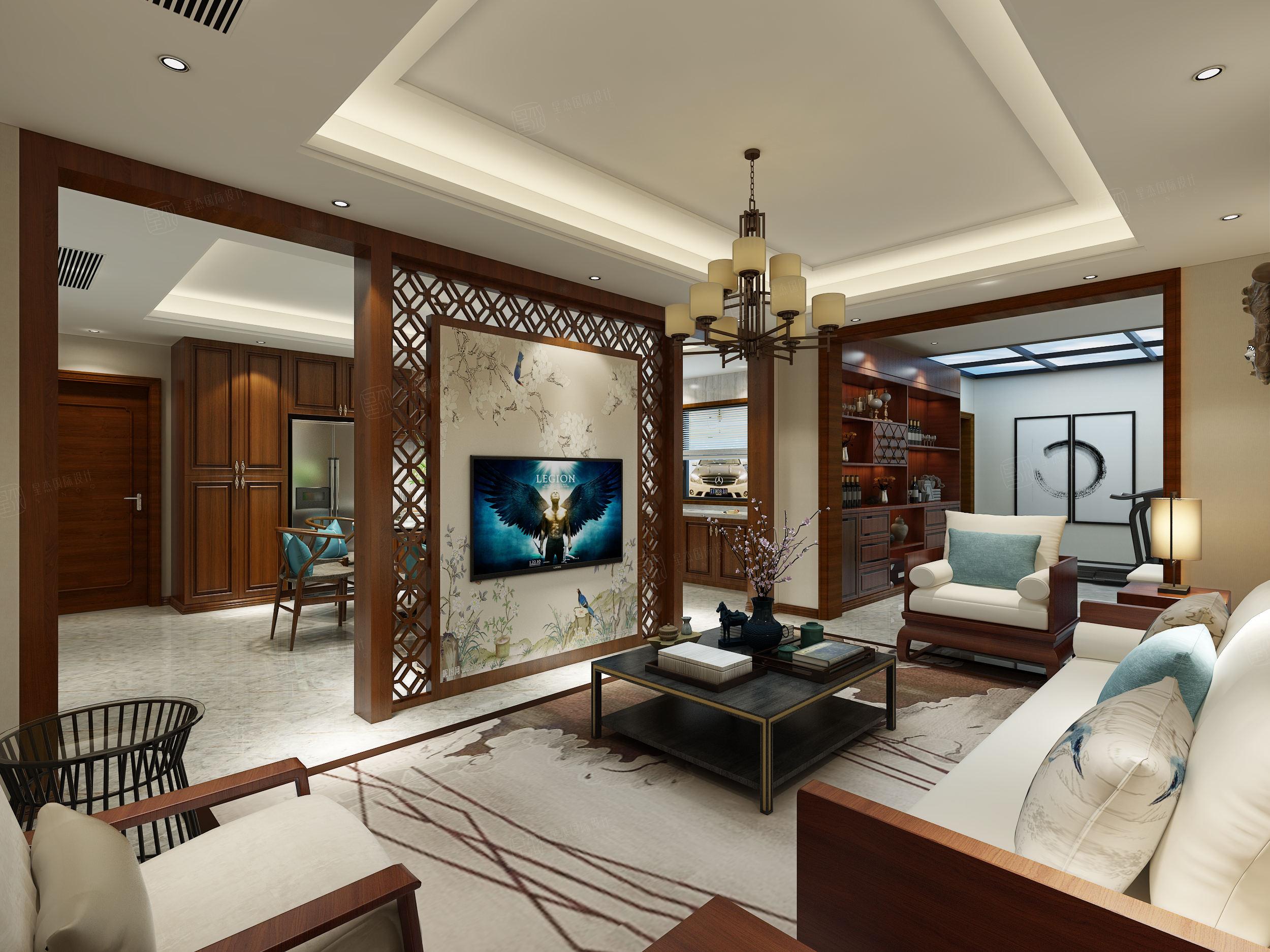 北京私人别墅 新中式装修会客厅效果图