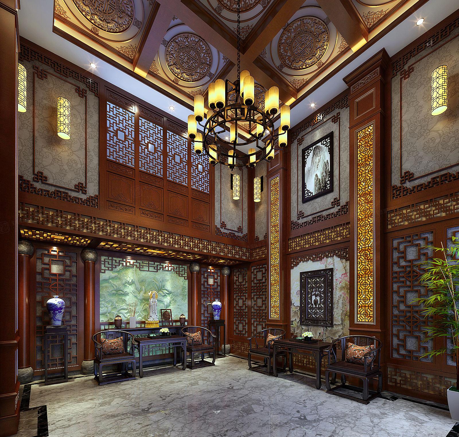 景瑞望府 中式装修客厅效果图