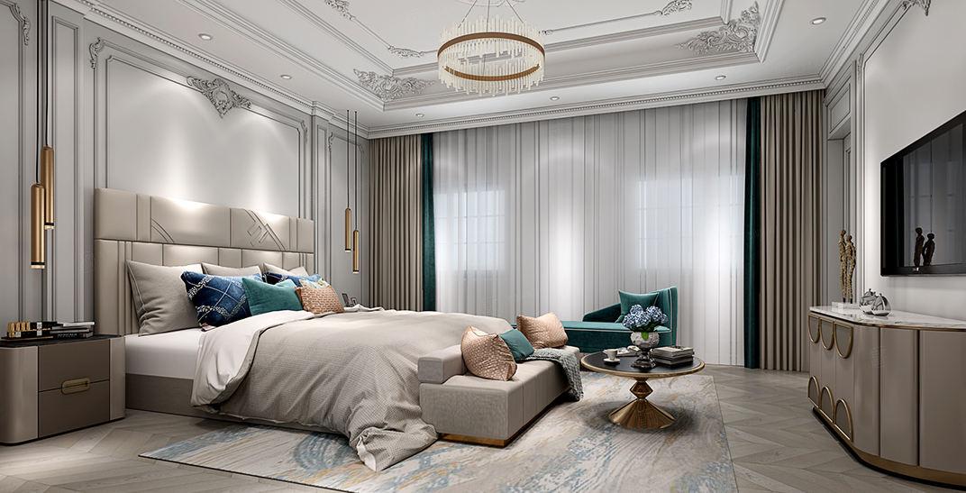 世纪珑墅   法式轻奢装修卧室效果图