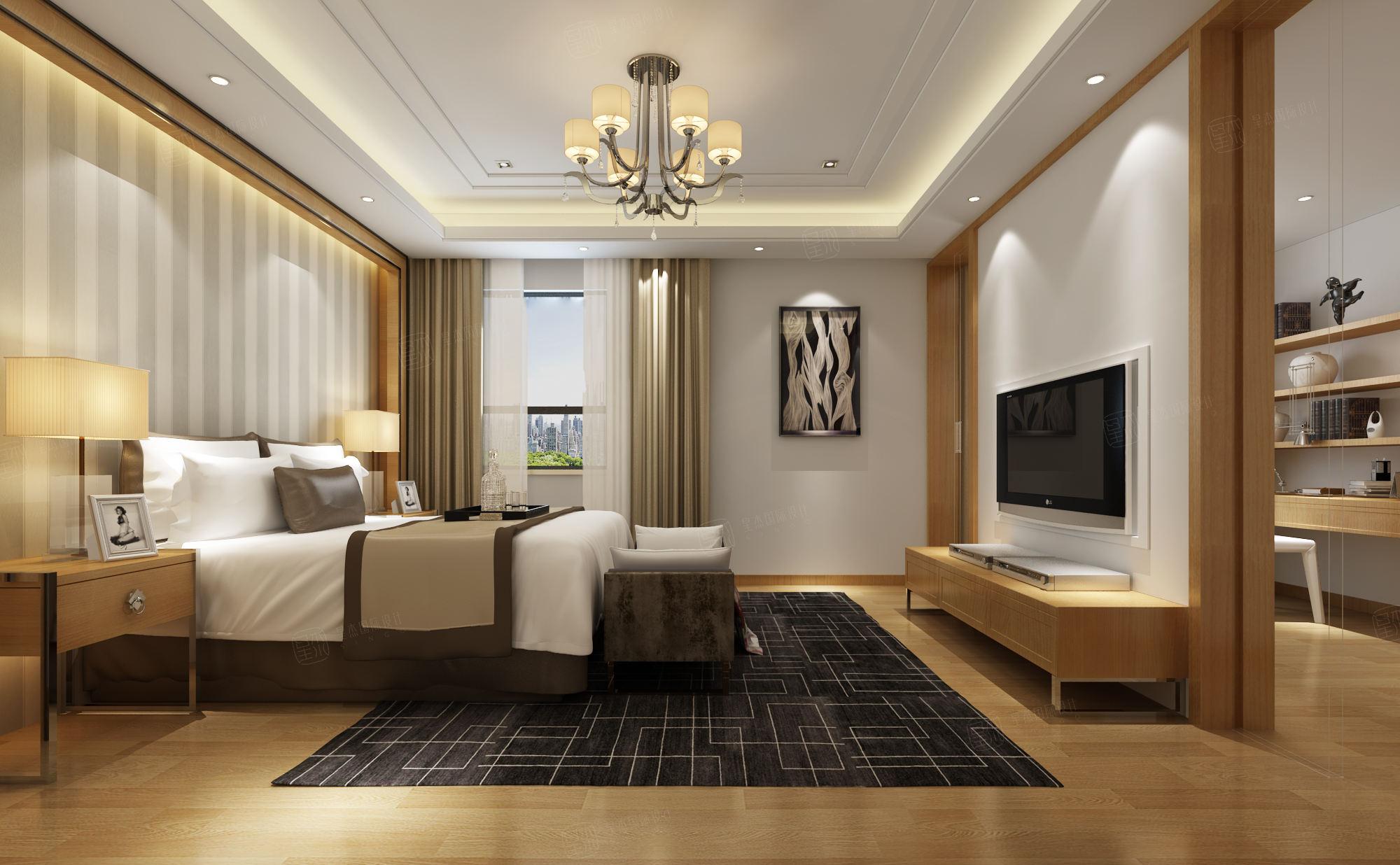 中海悦府 现代简约装修卧室效果图