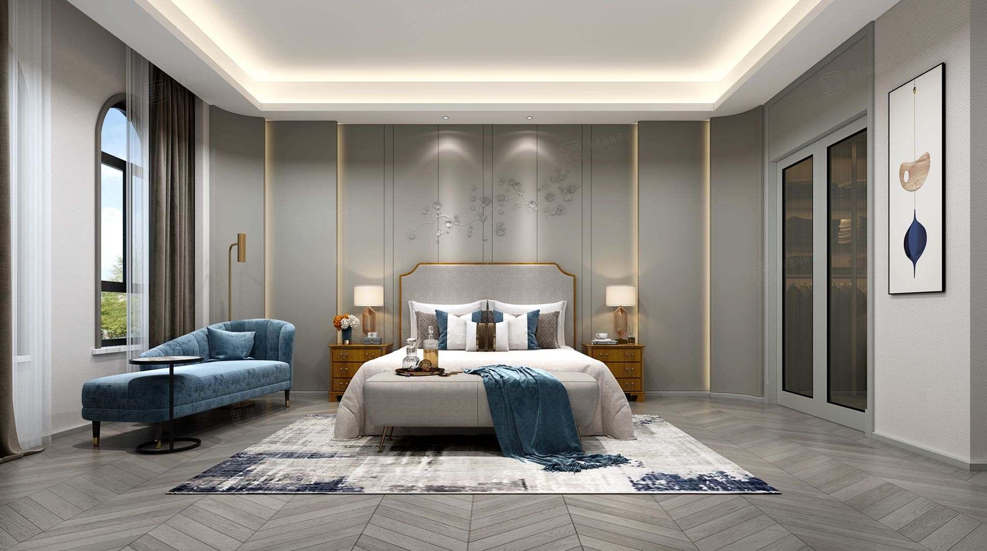 东郊罗兰  现代轻奢装修卧室效果图