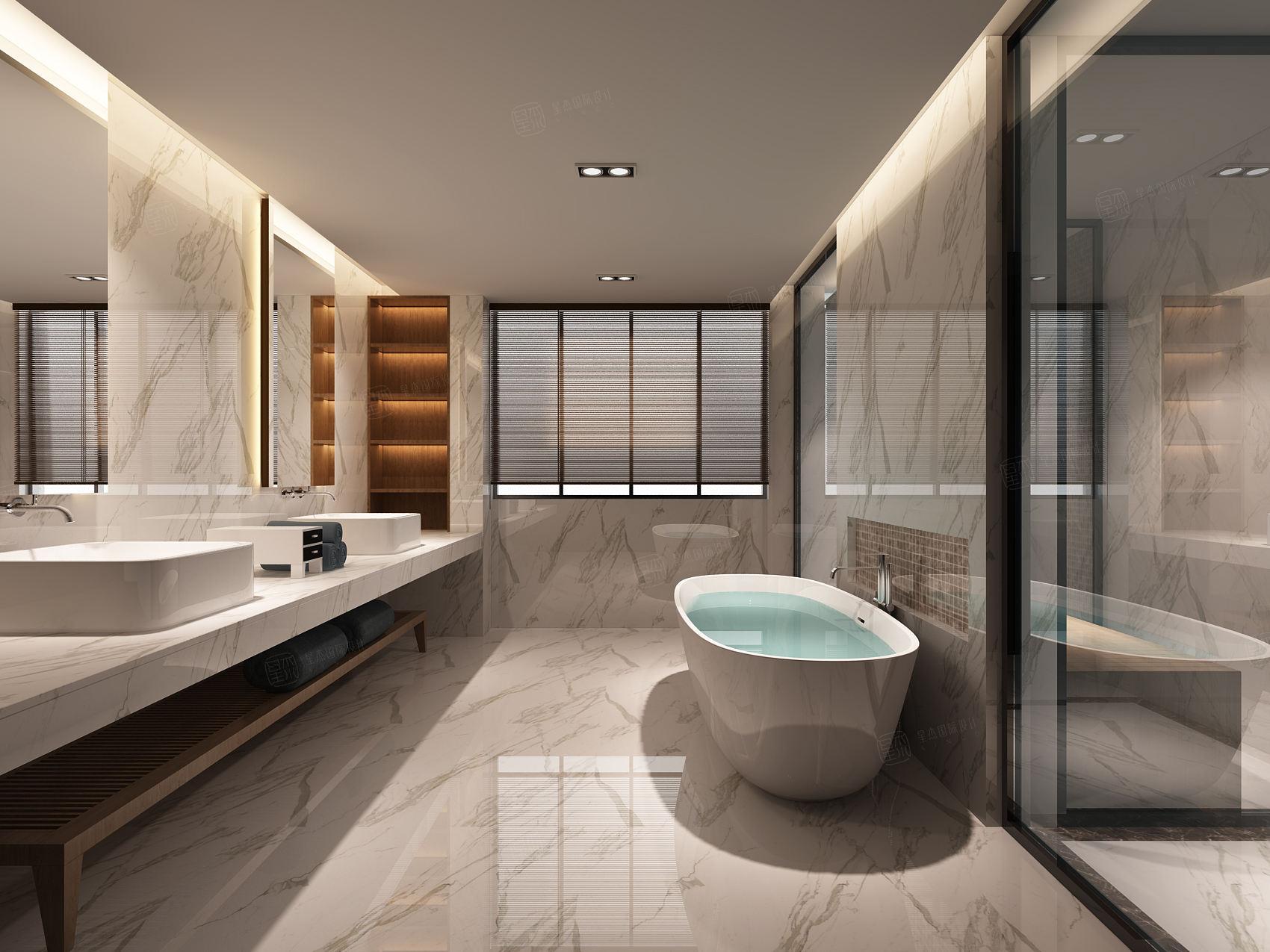 中邦上海城 现代简约装修浴缸效果图