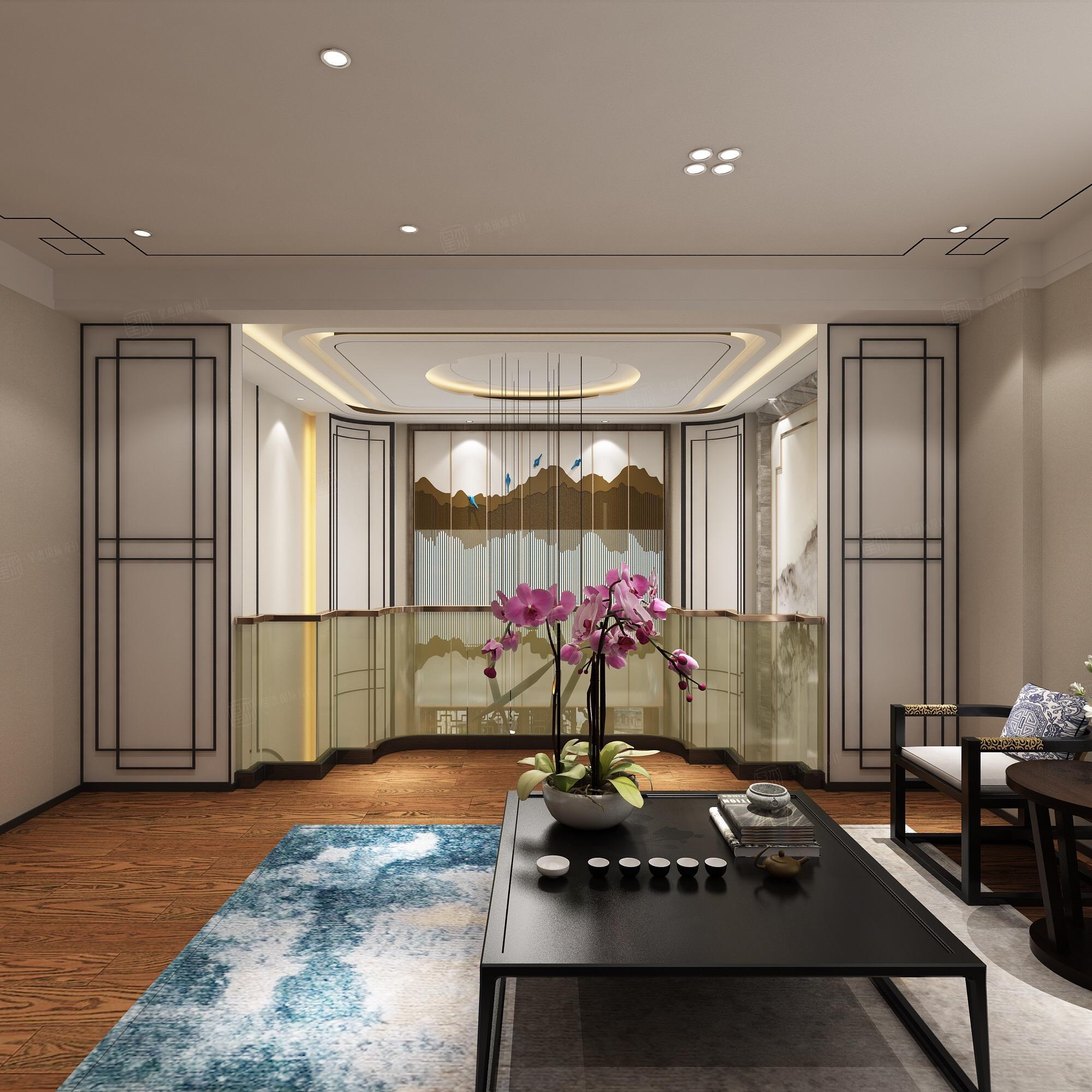 新中式风格-复地温莎堡装修茶室效果图