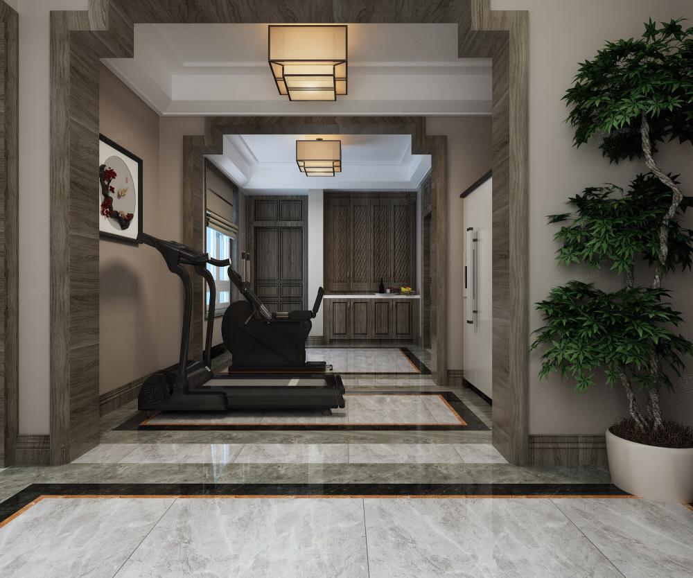 新中式风格-融公馆锦御名邸装修地下室效果图