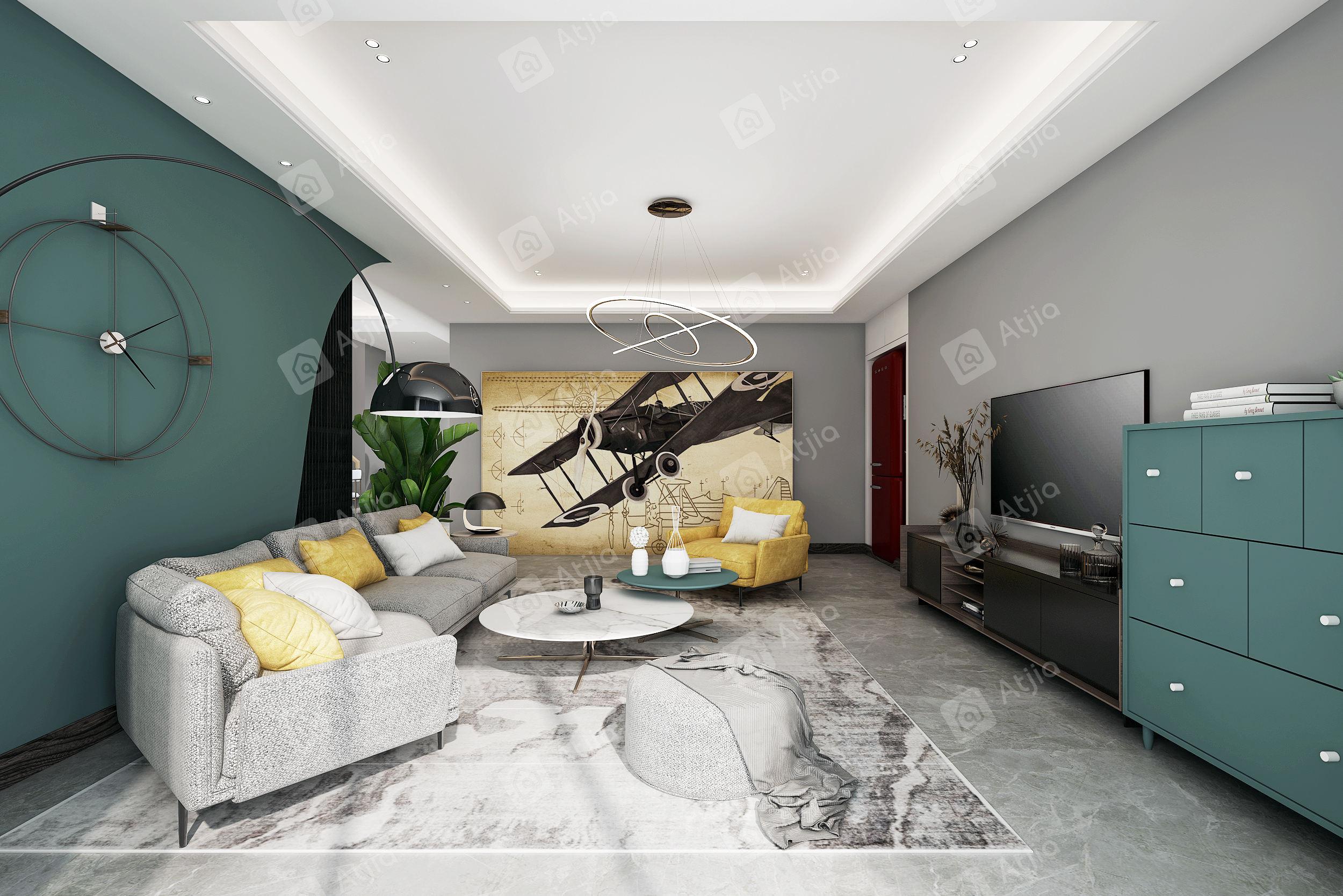 虹桥融景 现代北欧装修客厅效果图