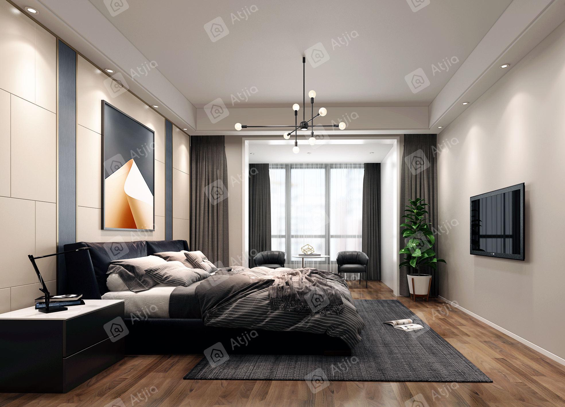 中海铂樾府 现代风格装修卧室效果图