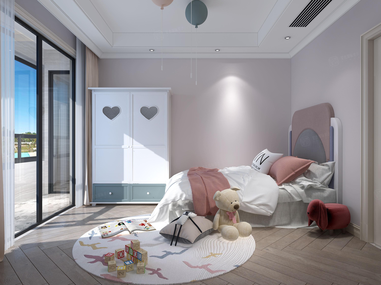 香梅花园  美式轻奢装修卧室效果图