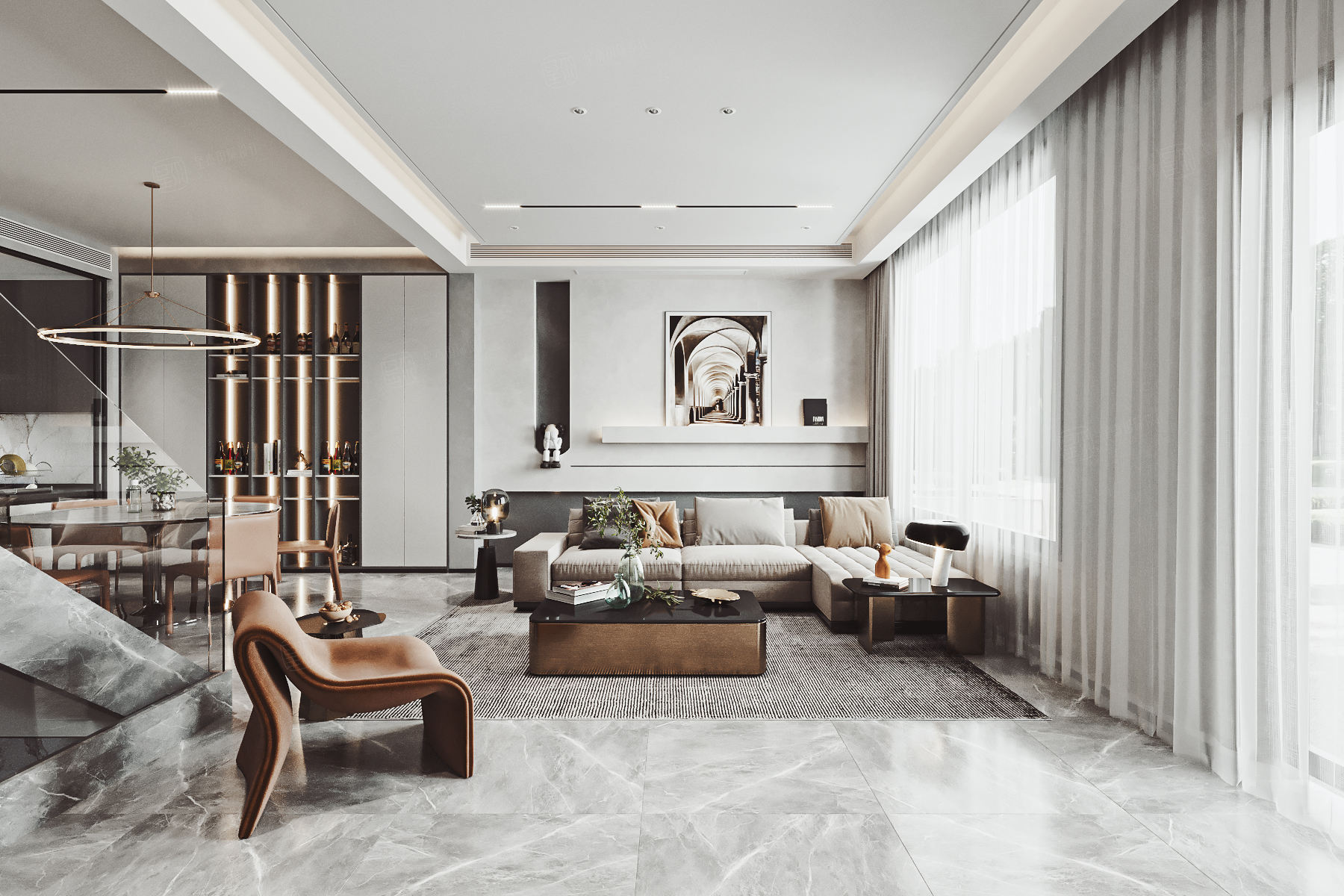 三湘森林海尚  现代轻奢装修客厅效果图