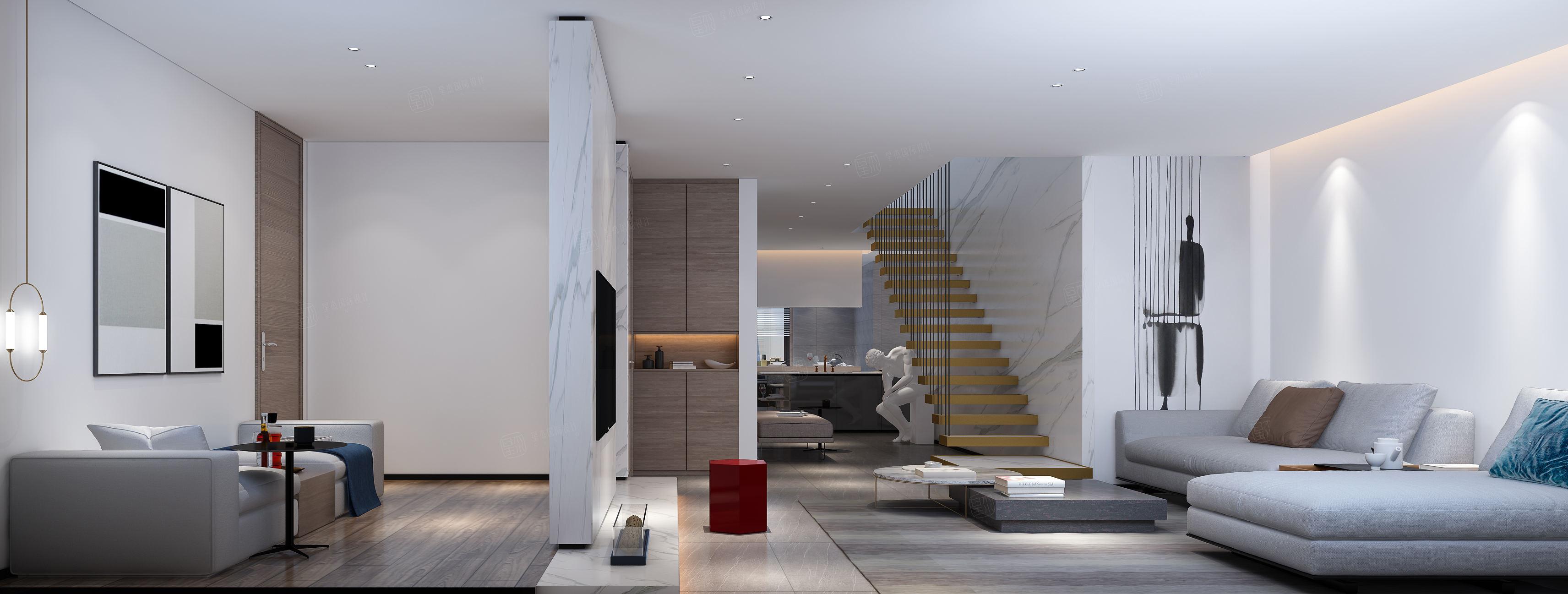 保利天琴宇 现代简约装修客厅效果图