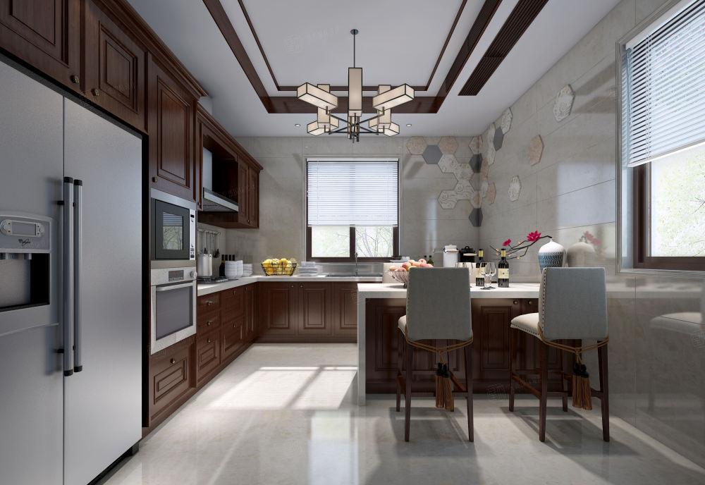 黄金水岸_中式高雅与简朴之美装修厨房效果图