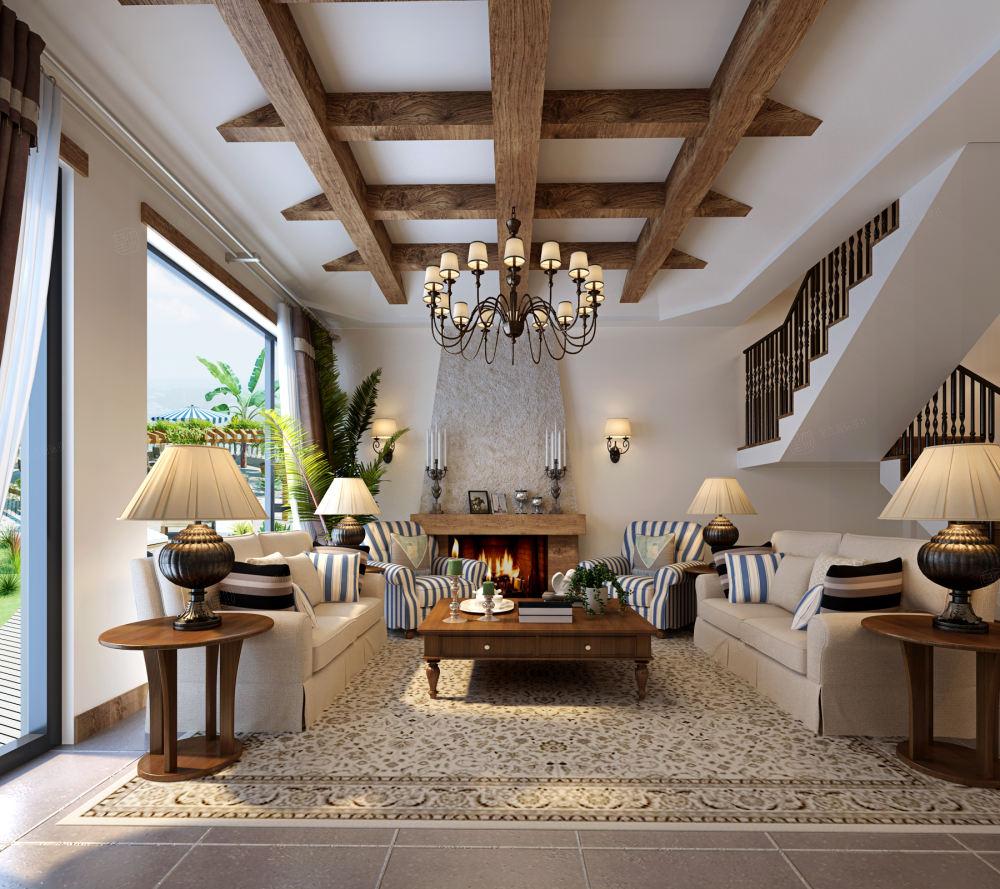 万科清林径 美式装修客厅效果图
