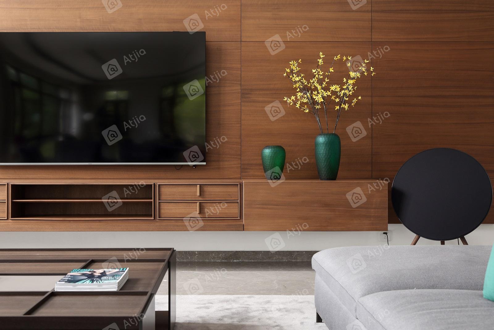 国宾一号——现代极简装修电视背景墙效果图