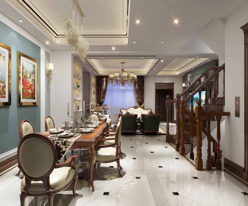 简美风格-依水和墅装修餐厅效果图