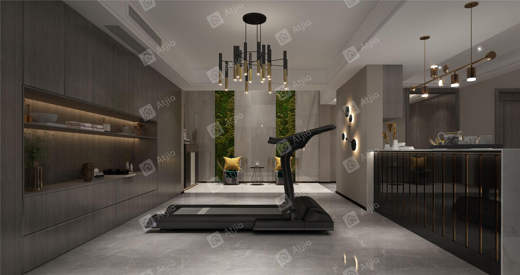 中海铂樾府 现代简约装修健身房效果图