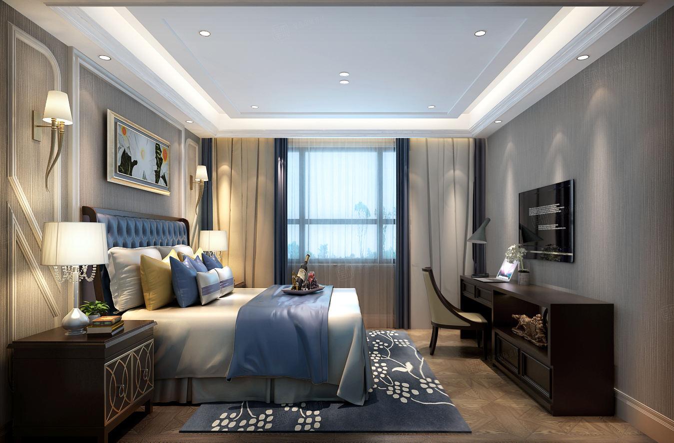 尚海郦景 美式风格装修卧室效果图