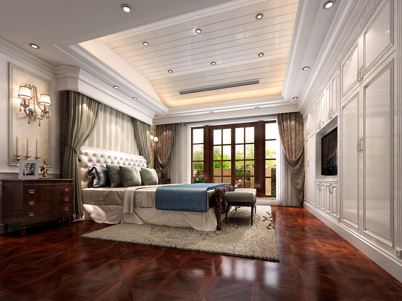 苏州国宾一号 美式装修卧室效果图