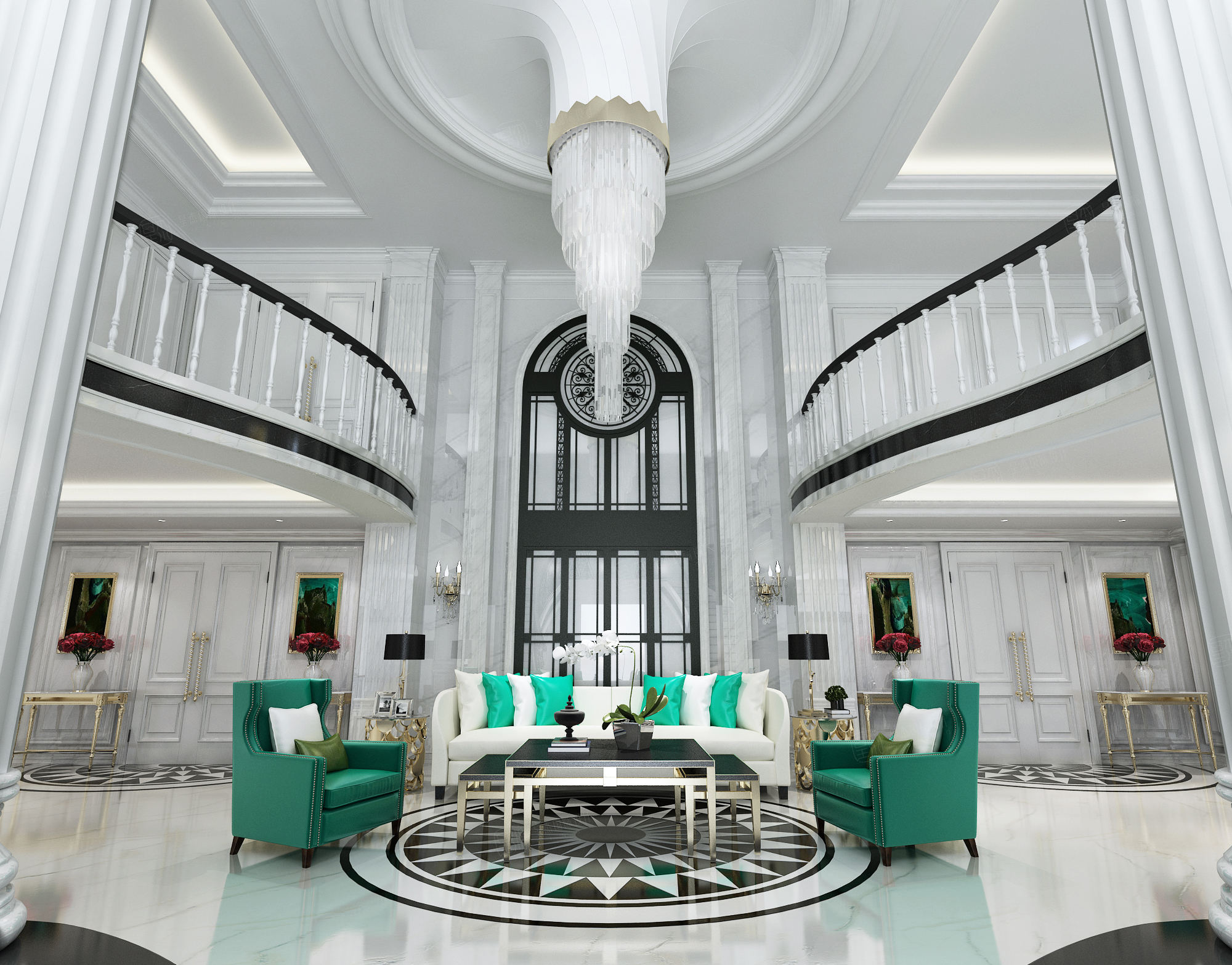 绿城玫瑰园 欧式装修客厅效果图