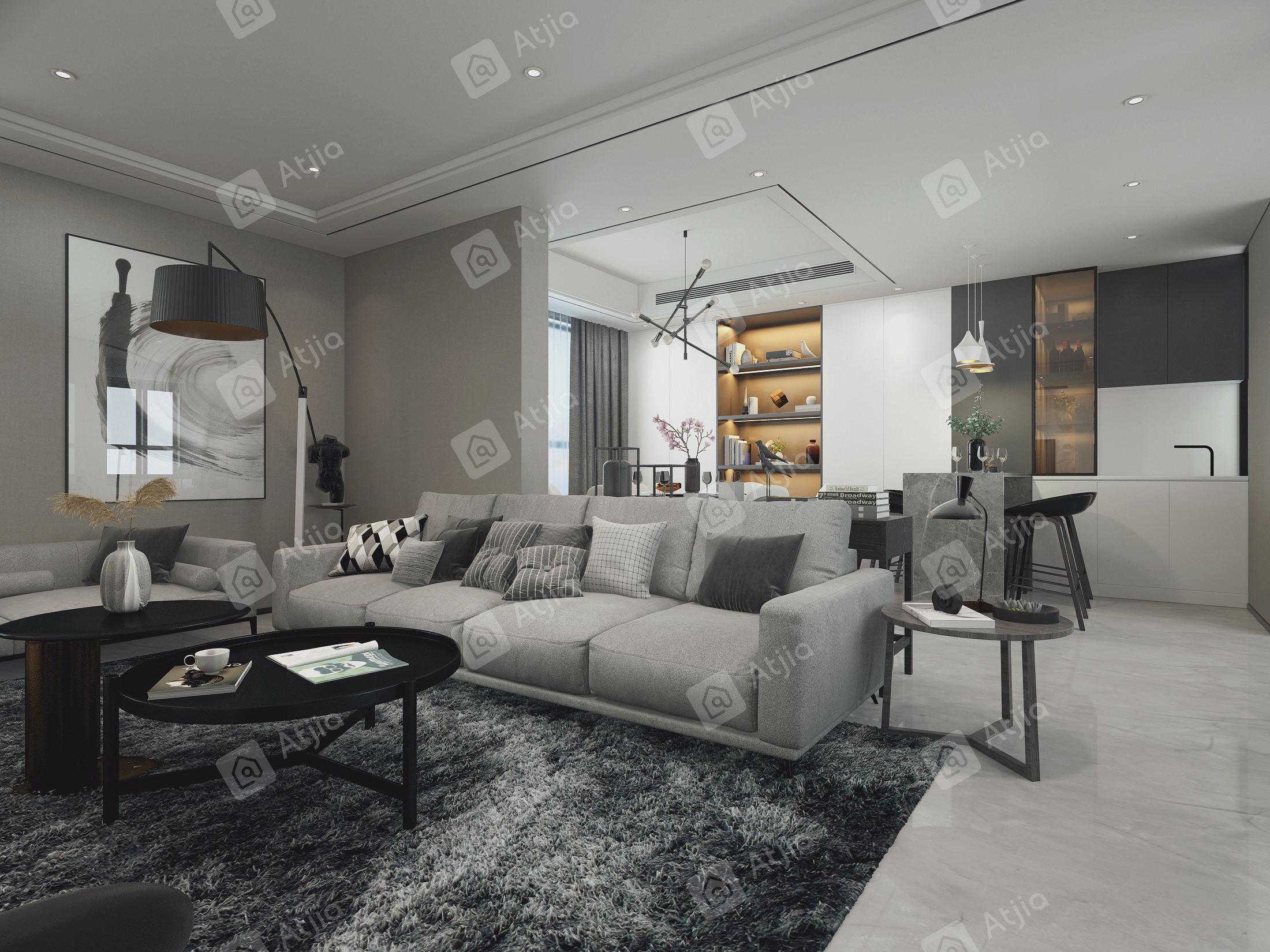 中海铂樾府 现代风格装修客厅效果图