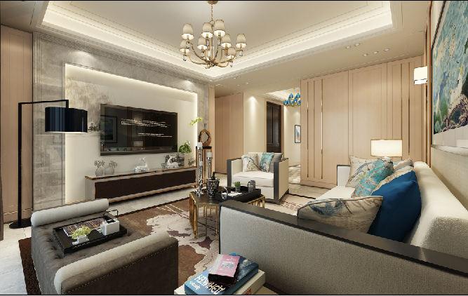 尚汇豪庭 现代简约装修客厅效果图