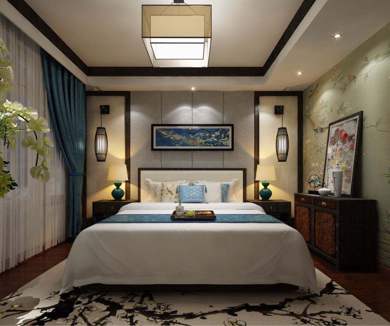 新中式风格-中粮大道装修卧室效果图