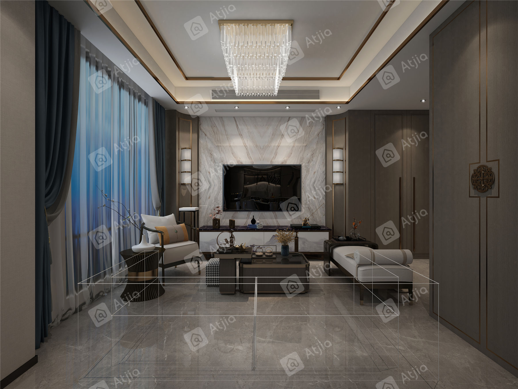 万濠瑜园 现代简约装修客厅效果图