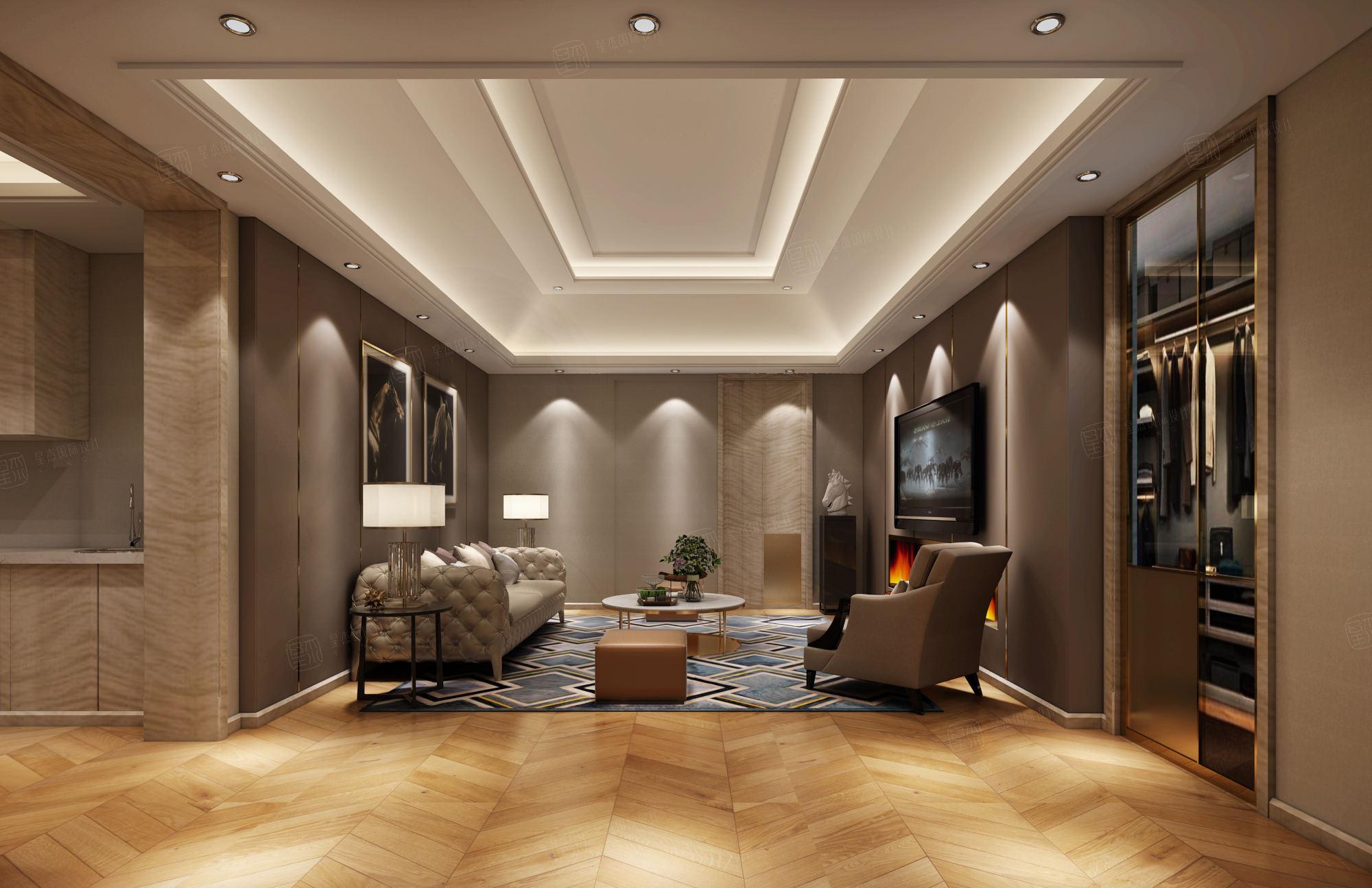 中星红庐 简欧装修起居室效果图