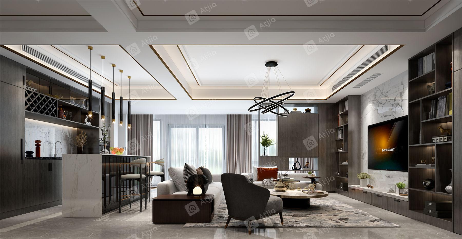 中海铂樾府 现代简约装修客厅效果图
