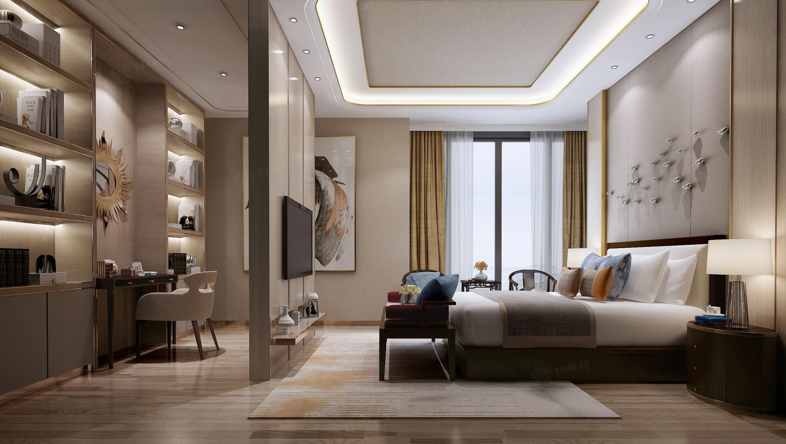 安亭瑞仕华庭 新中式装修卧室效果图