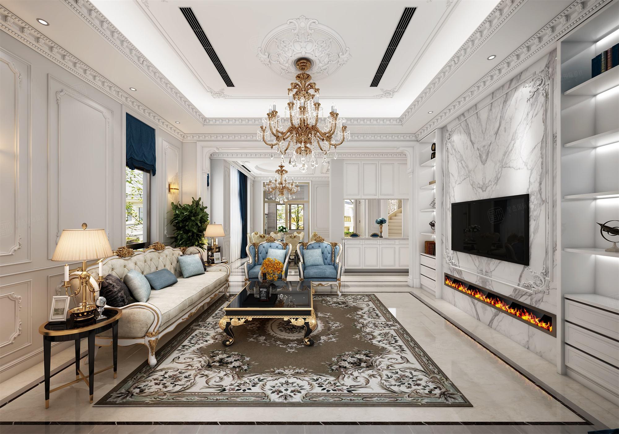 六合别墅  法式装修客厅效果图