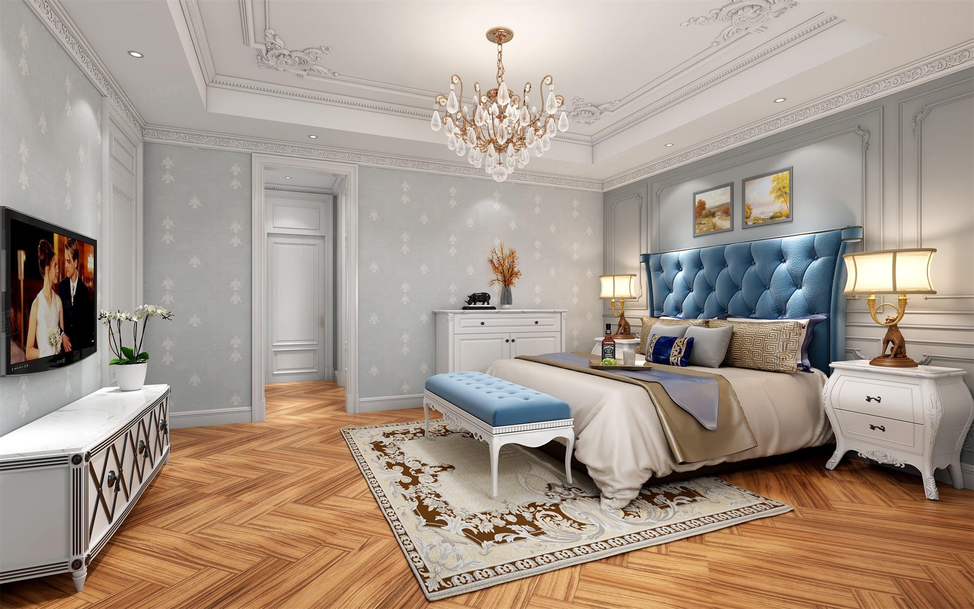 六合别墅  法式装修卧室效果图