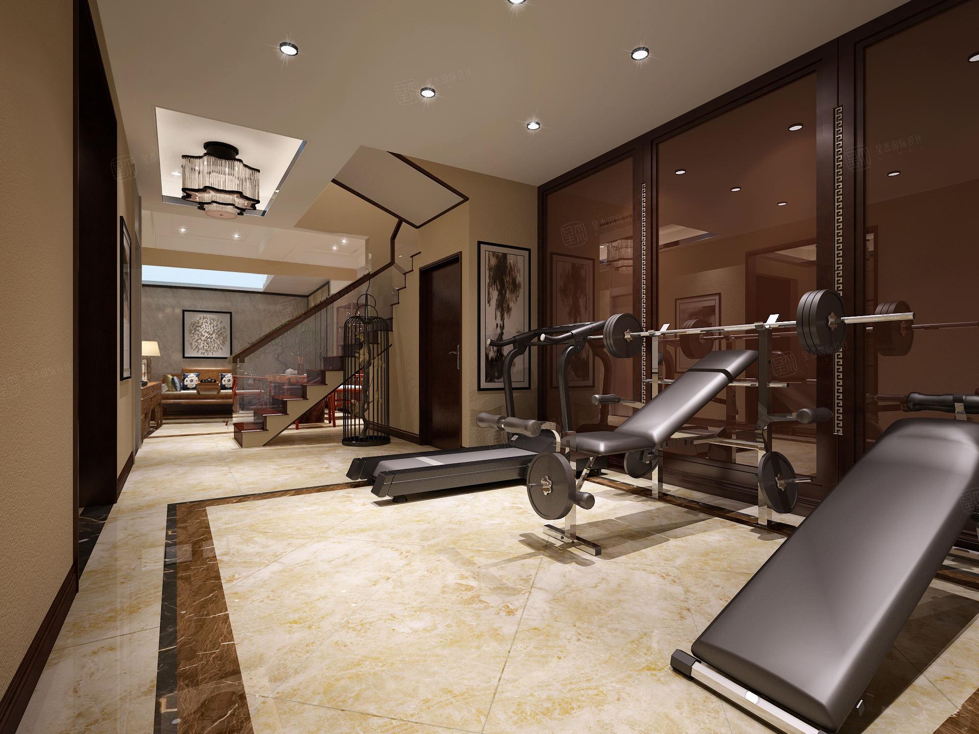 新中式装修健身房效果图