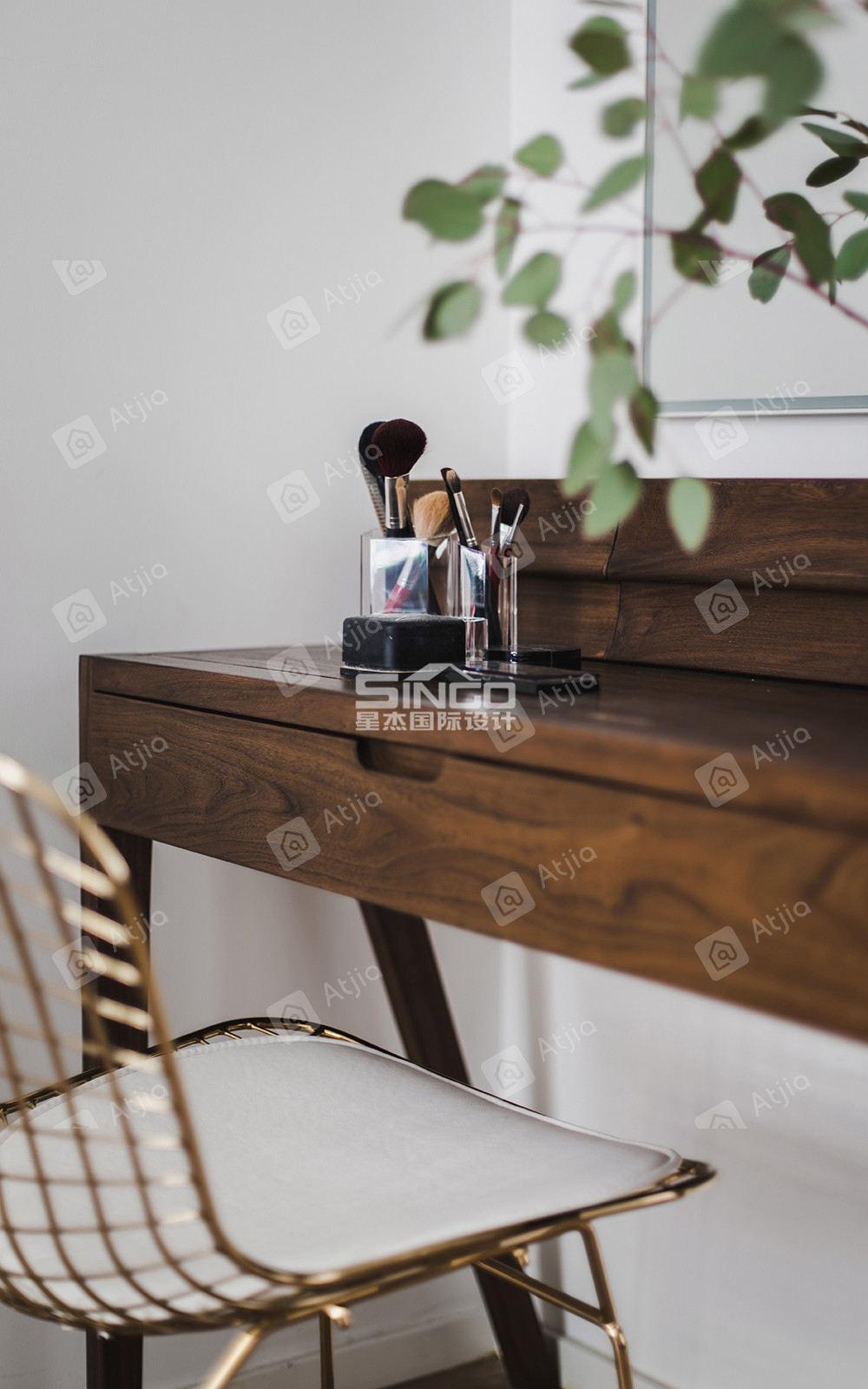 申江豪城实景 现代简约装修书桌效果图