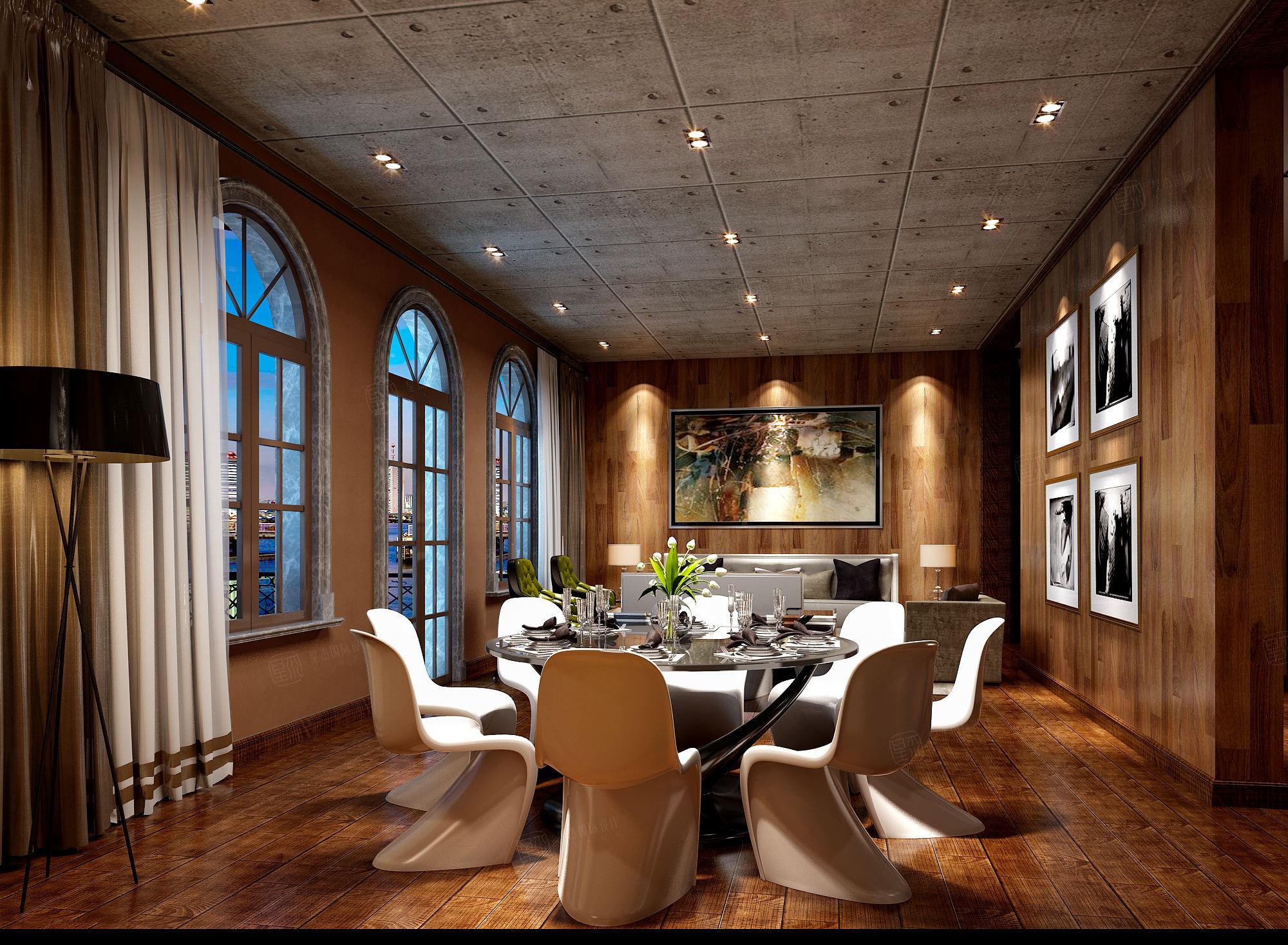 绍兴绿城玉园 后现代装修餐桌效果图