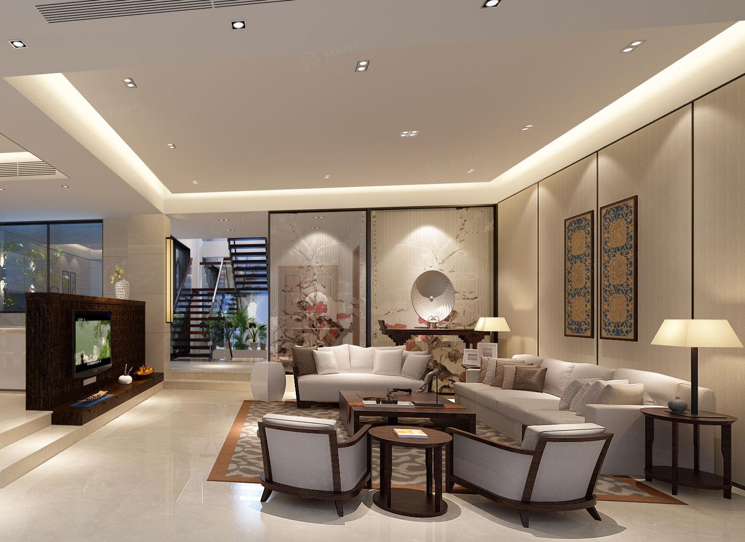 保利茉莉 新中式装修会客厅效果图