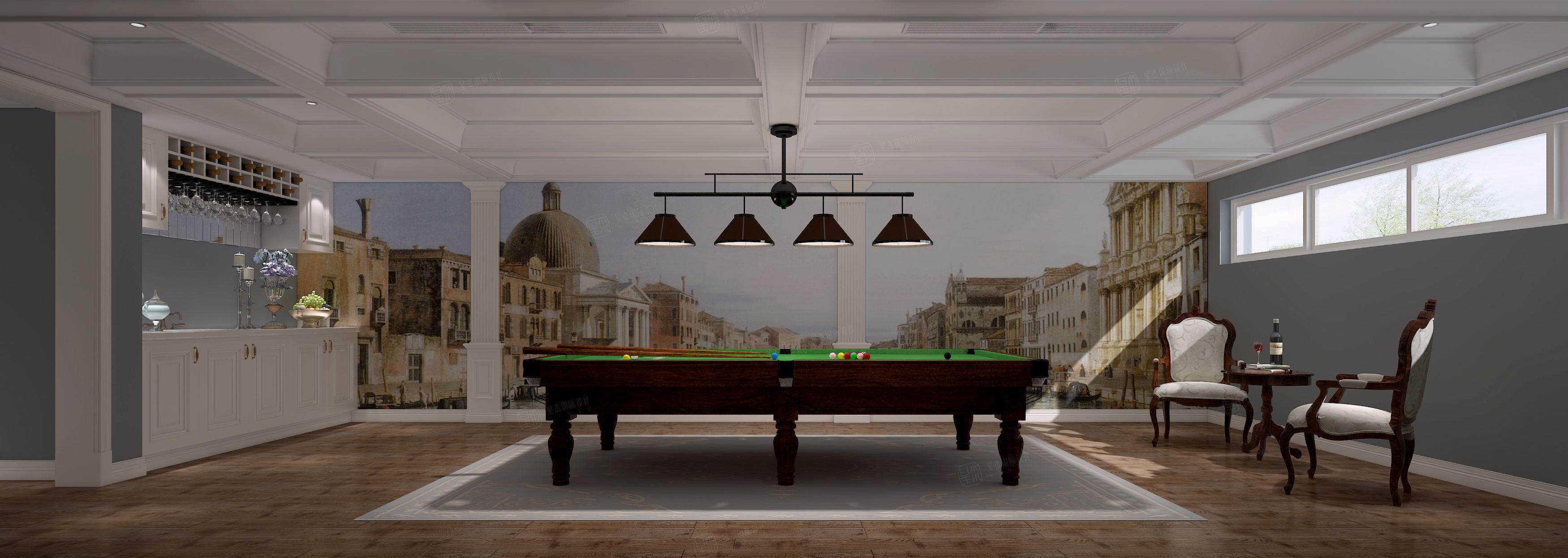 太湖之星_质朴典雅的气氛装修台球室效果图