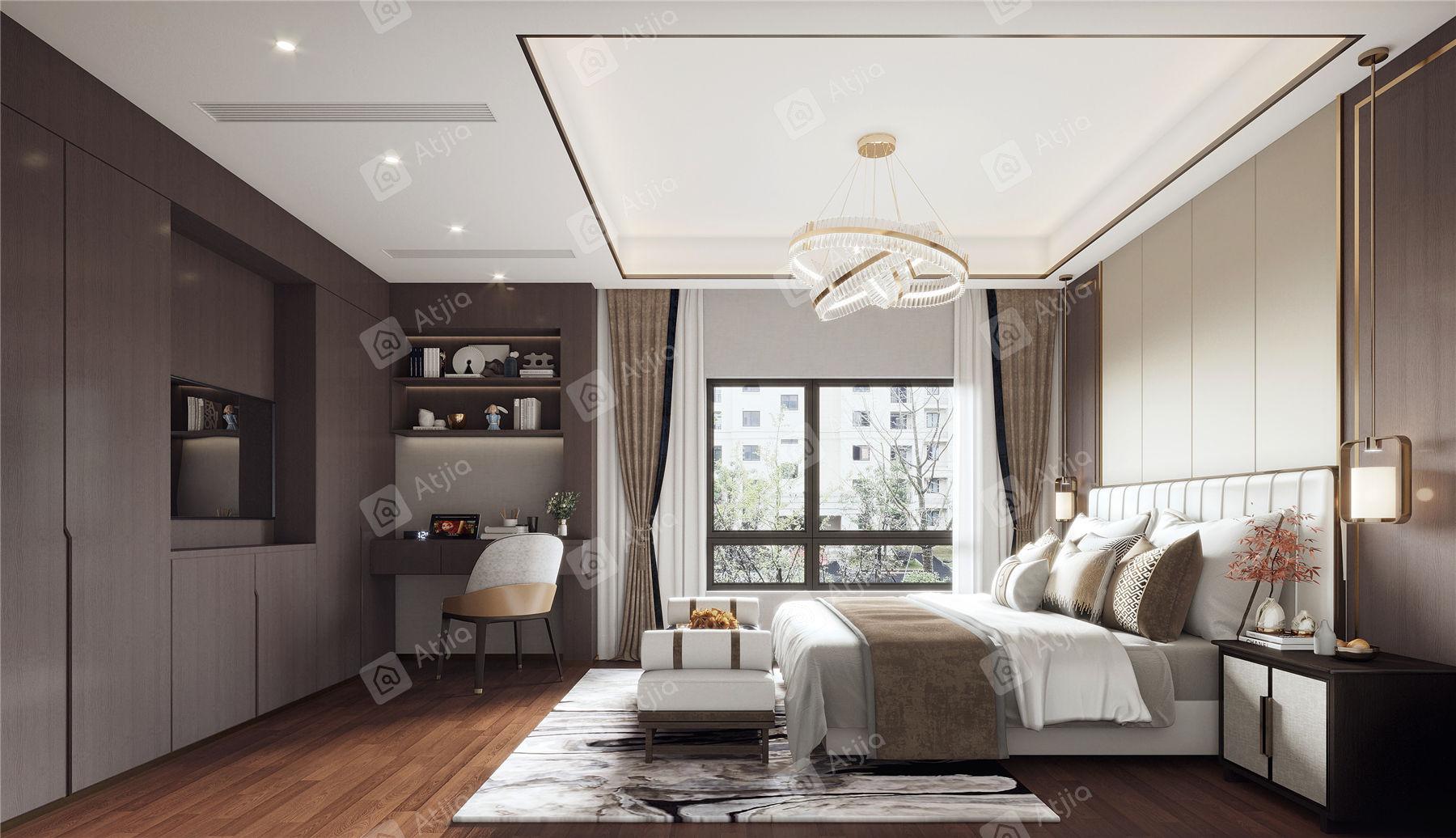 万濠瑜园 现代简约装修卧室效果图