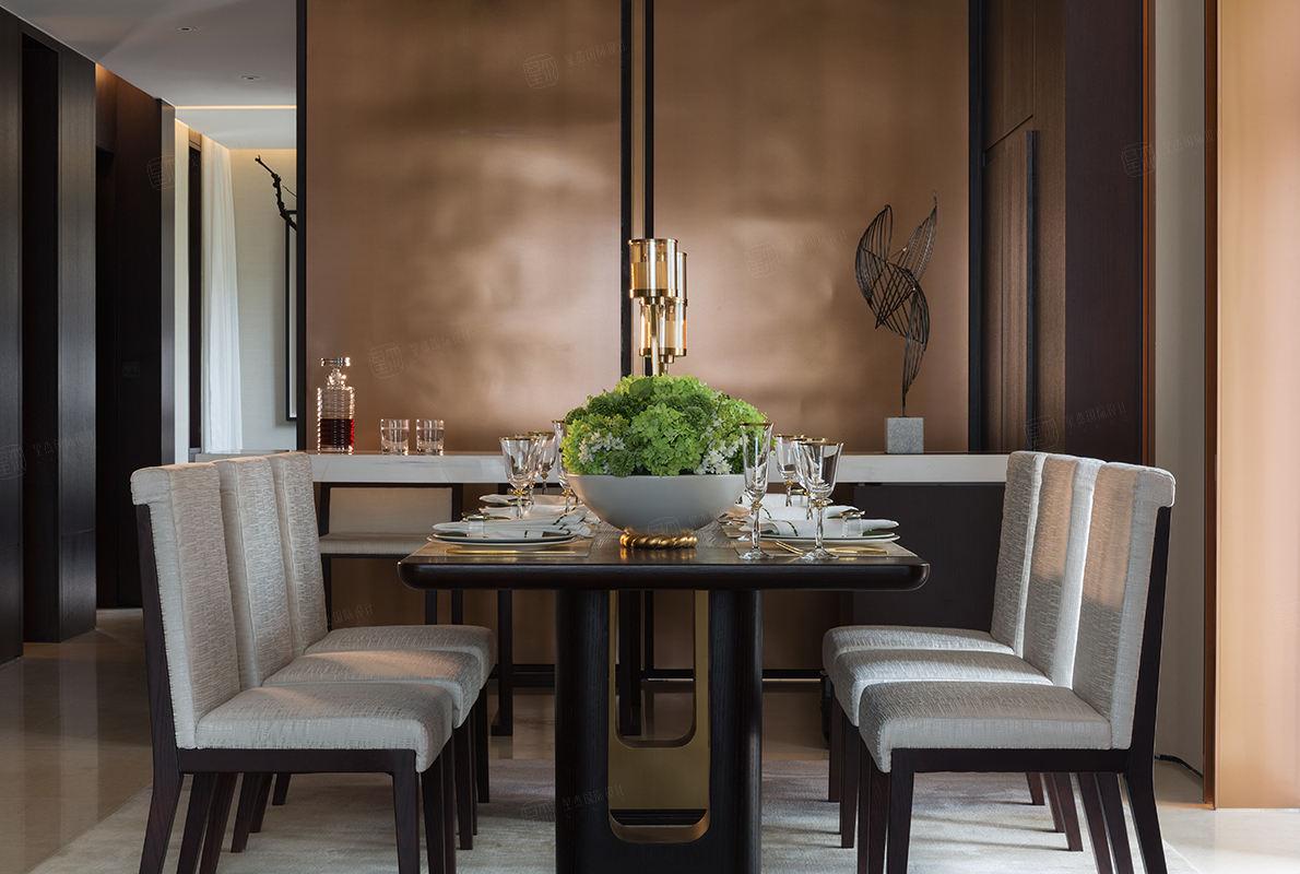 尚海郦景-现代轻奢装修餐厅效果图