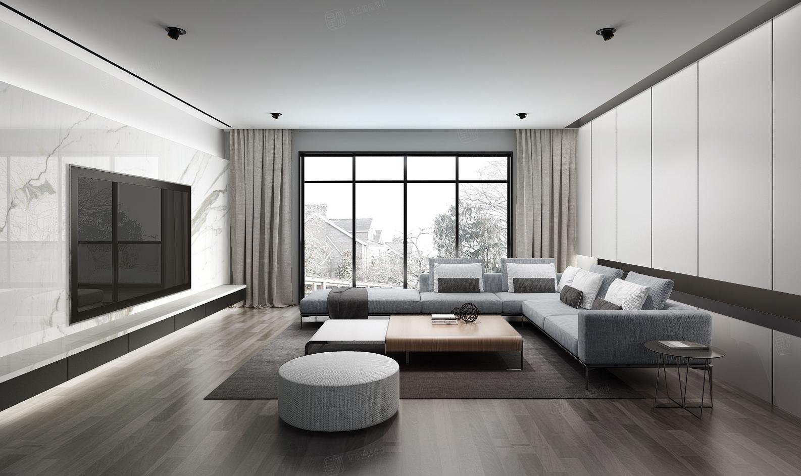 金色维也纳 现代极简装修客厅效果图
