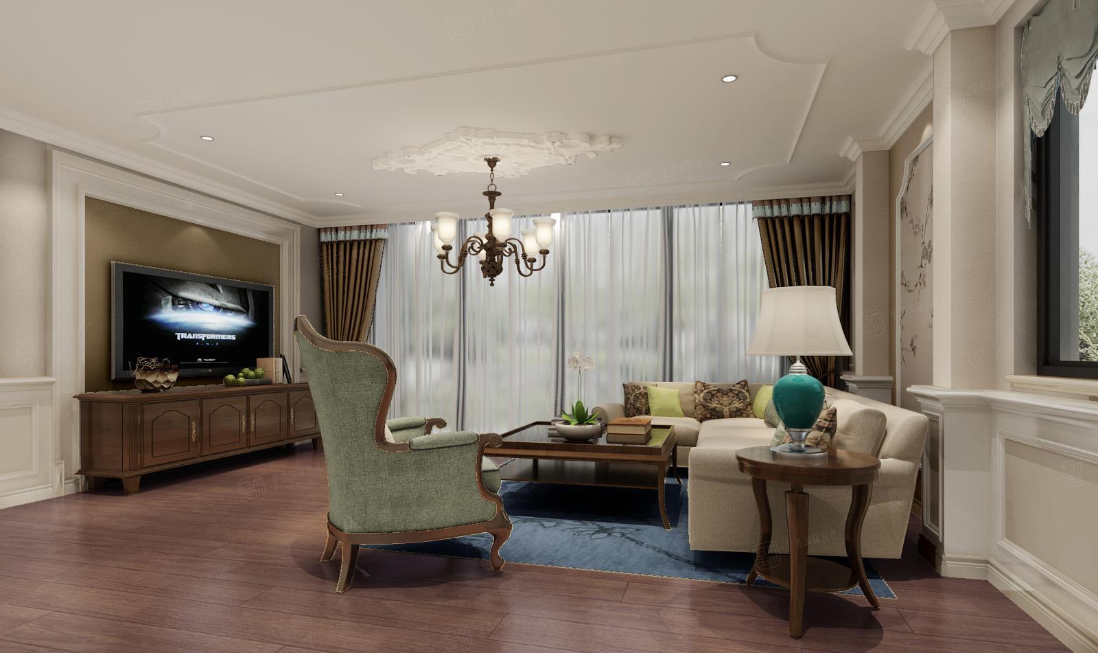 绿宝园 美式装修起居室效果图