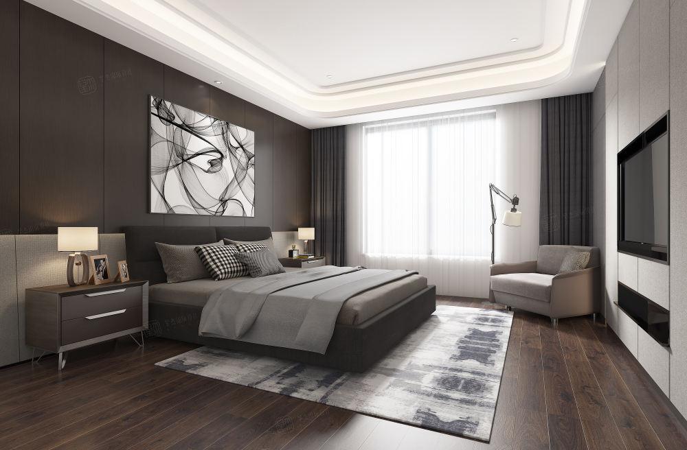 长安府_灰色主调的优雅装修卧室效果图