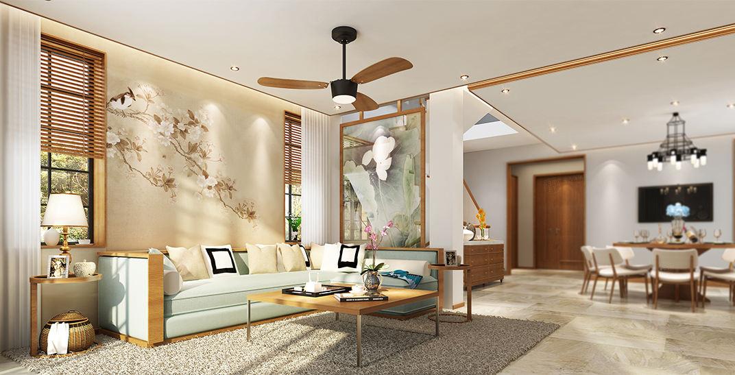 东郊紫园   新中式装修客厅效果图