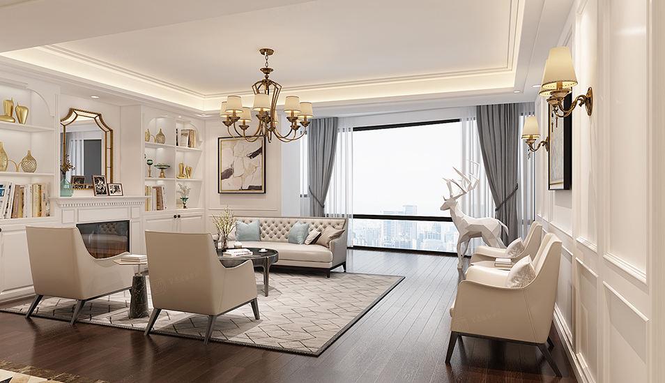紫荆园   英式装修客厅效果图