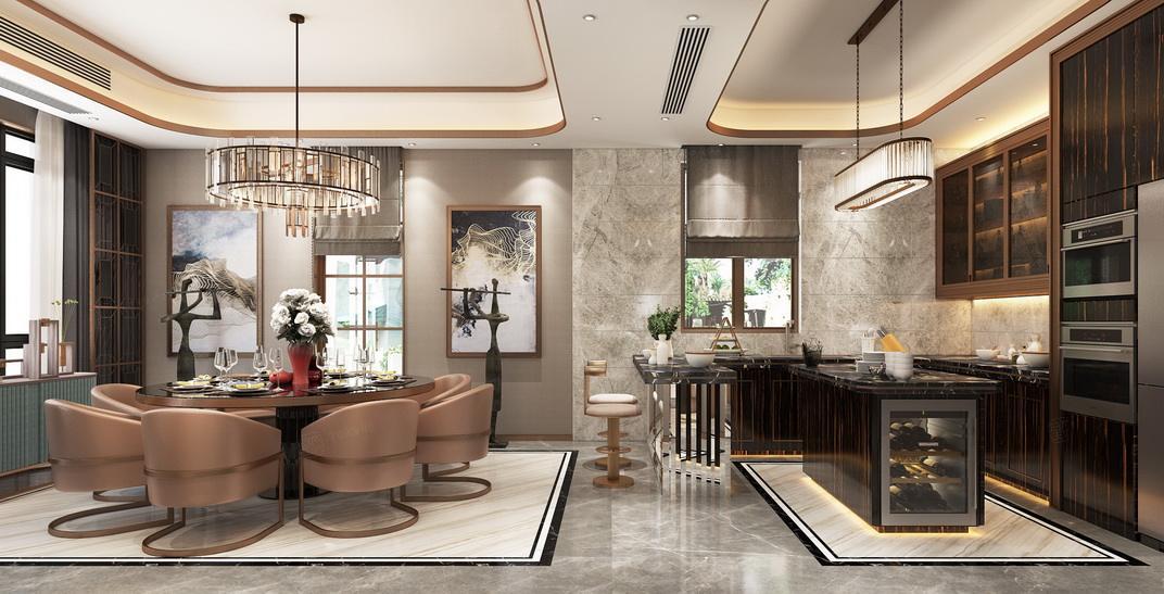 北上海 港式轻奢装修餐厅效果图