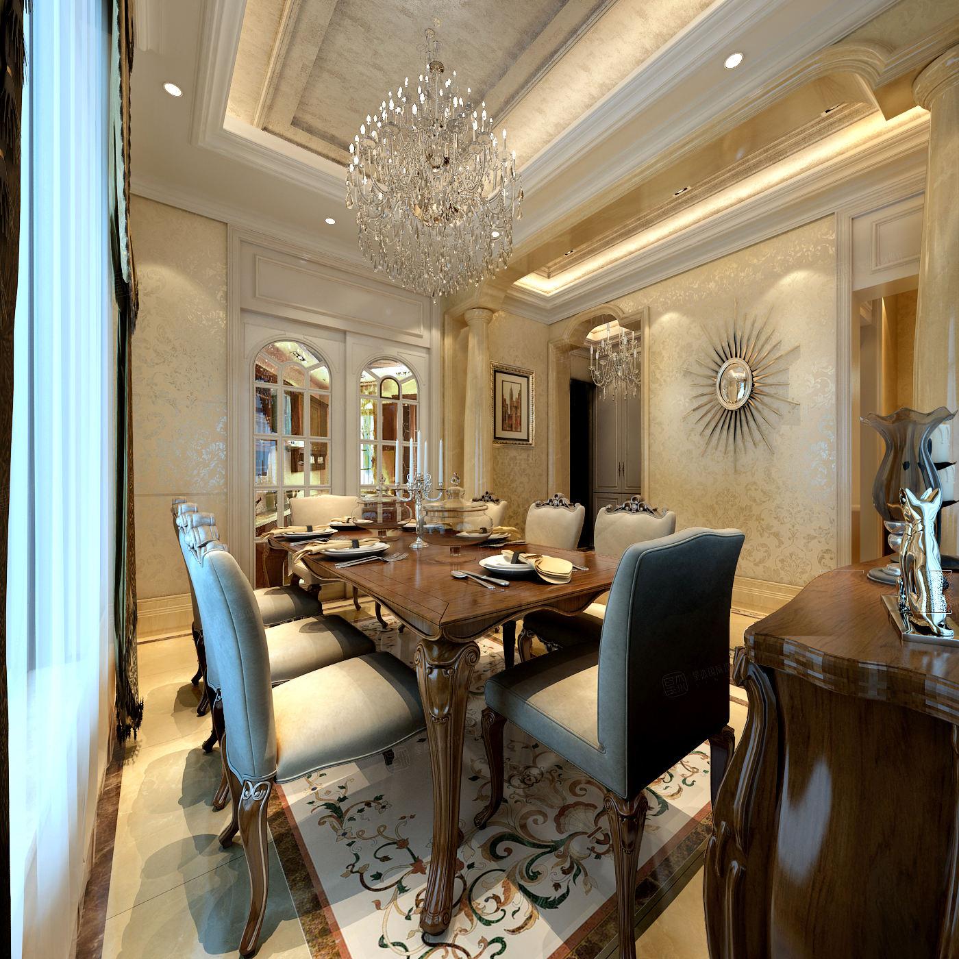 海上纳堤 简欧装修餐厅效果图