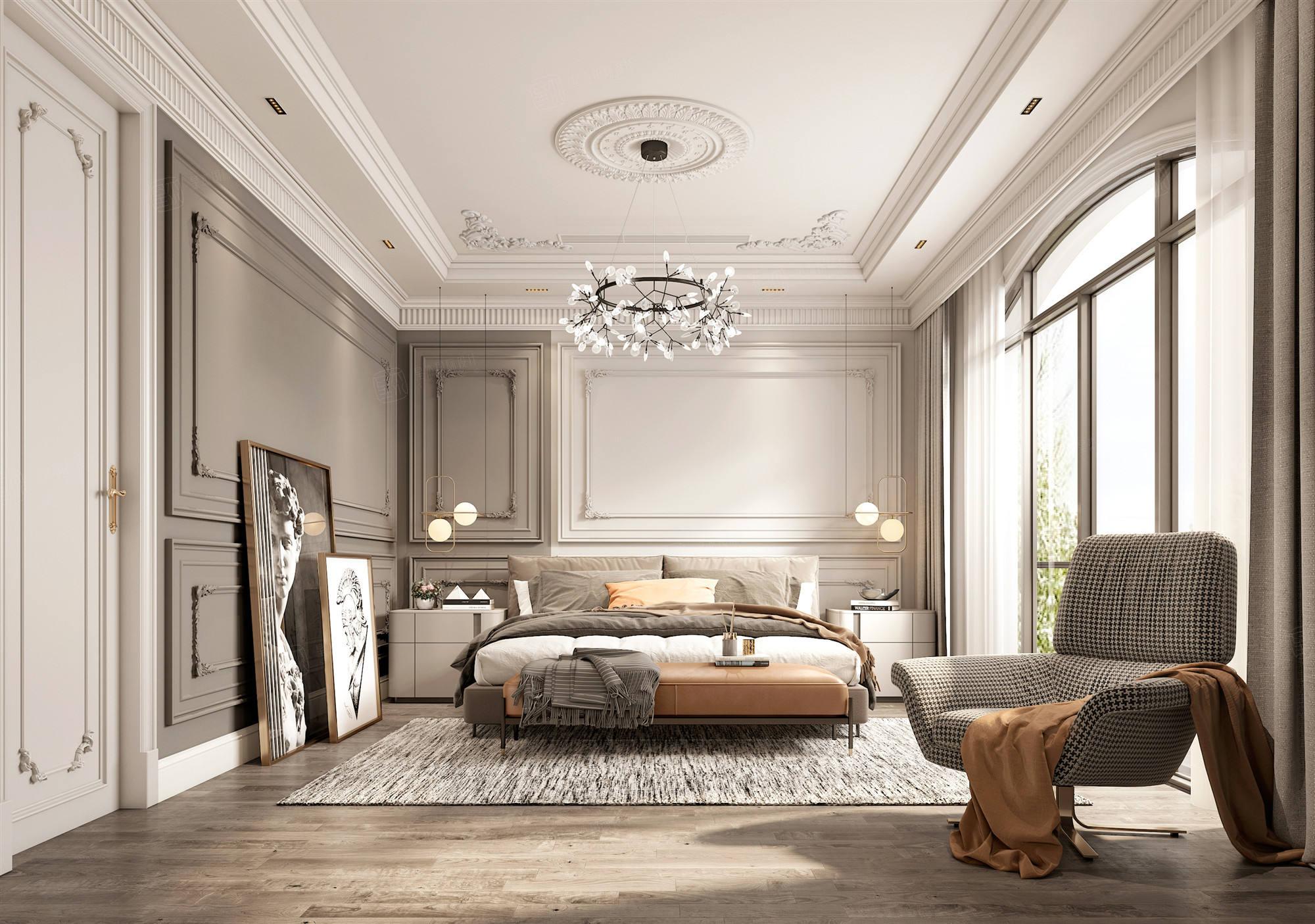 安盛杉庄  法式轻奢装修卧室效果图