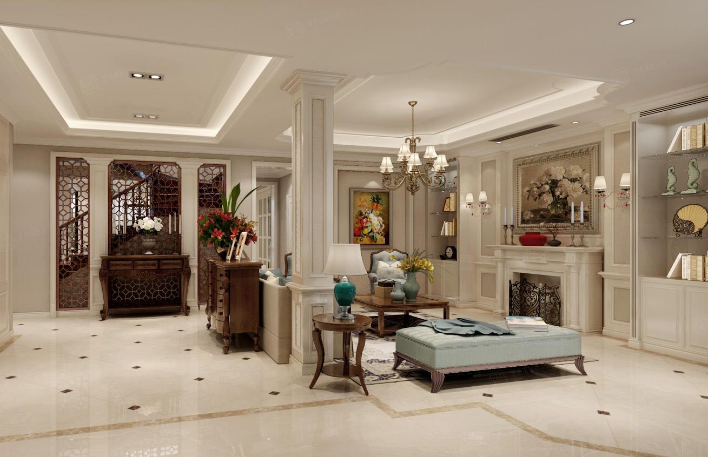 绿宝园 美式装修客厅效果图