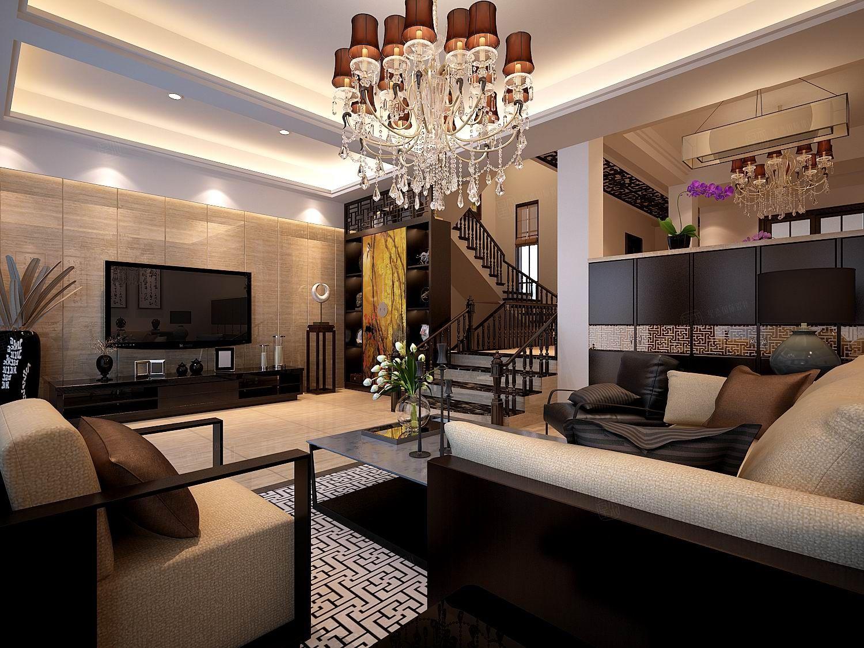 新中式_私人别墅装修客厅效果图