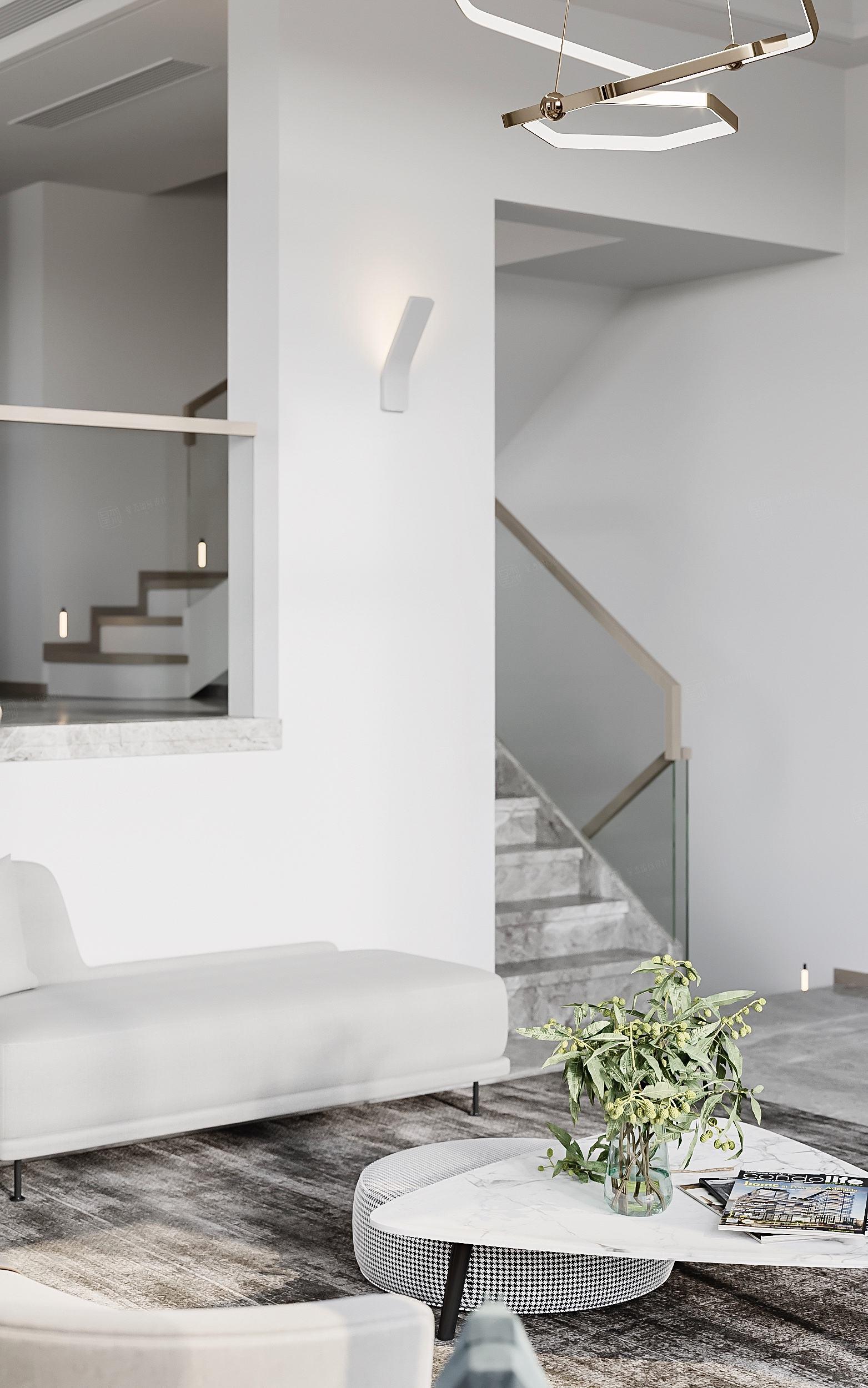 意境雅苑别墅  现代轻奢装修楼梯效果图